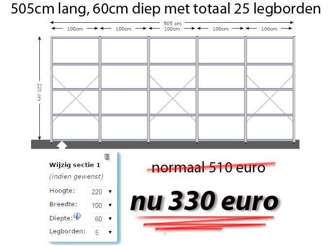 Stellingkast 25 Cm Diep.Stellingkast 505cm Lang 60cm Diep Met 25legborden Stellingkast Nl
