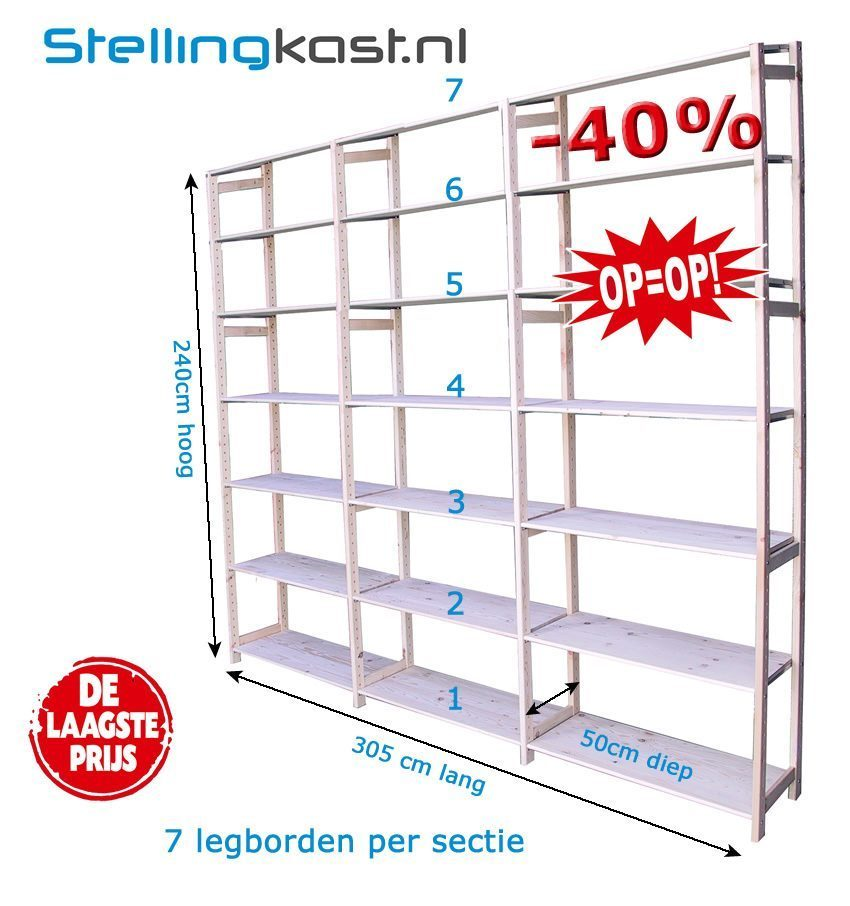 Nieuw Houten stelling GEBRUIKT 305cm-21legb. - Stellingkast .nl DV-09